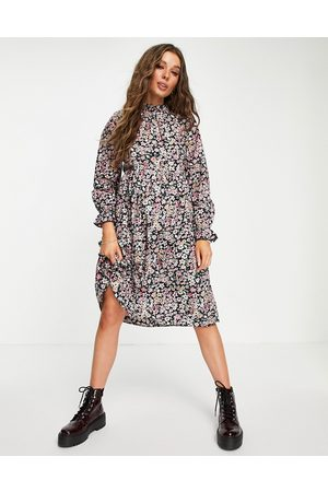 ONLY Midi dress with frill neck in floral print-Multi