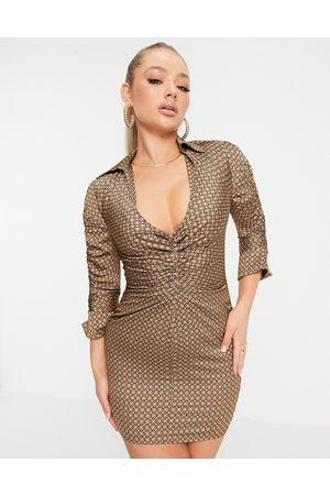 ASOS Geo print satin mini shirt dress with ruched detail-Multi