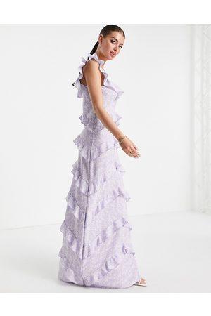 Pretty Lavish Cecile square neck ruffle midaxi dress in lilac abstract print-Purple