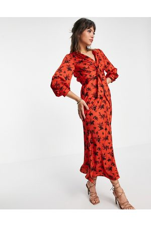ASOS Satin tie front midi dress with button detail in red floral print