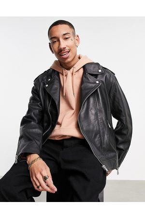 ASOS Leather jacket in black with quilting