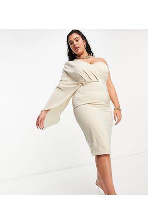 Lavish Alice Damen Midikleider - Exclusive corset drape cape midi pencil dress in champagne