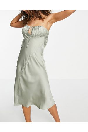 ASOS Satin bias cut midi slip dress with ruched bust detail in olive-Green