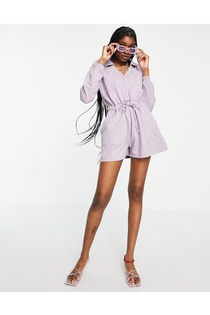 ASOS Open collar sweat jogger playsuit in washed lilac-Purple