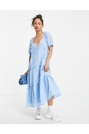 Neon Rose Midi milkmaid dress with frill trim-Blue