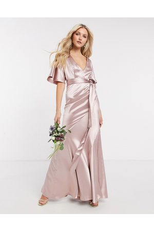 ASOS Bridesmaid satin kimono sleeve maxi dress with panelled skirt and belt in