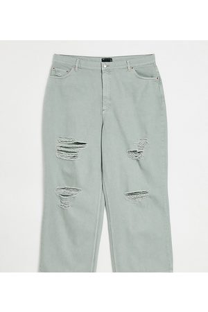 ASOS ASOS DESIGN Curve high rise 'relaxed' dad jean in iceberg green with rips