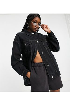 COLLUSION Denim jacket with dipped hem in washed black