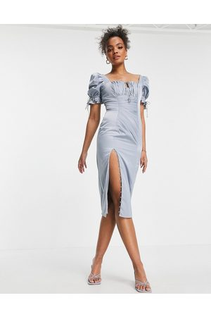 ASOS Ruched midi dress with puff sleeve and button detail-Blue