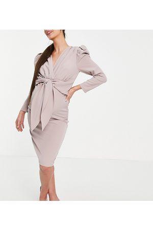 Little Mistress Puff shoulder tie front detail midi dress in mink-Pink