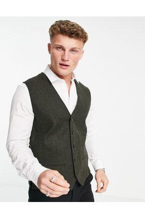 JACK & JONES Premium suit waistcoat in khaki nep-Green