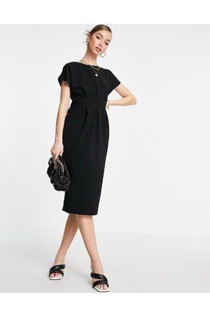 ASOS Nipped in waist midi dress in black