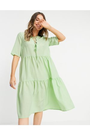 Lola May Lace up front tiered midi smock dress in wasabi green