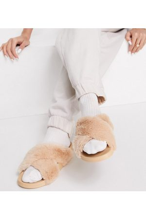 ASOS Wide Fit Fiona cross strap furry sliders in caramel-Neutral