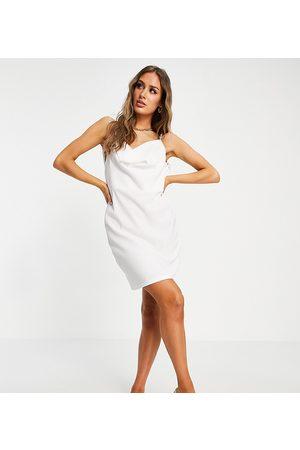 Catch Rib cowl neck mini beach dress in white