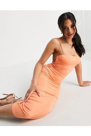 ASOS Square neck ruched double strap back midi dress in tangerine