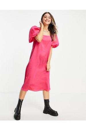 Lola May Puff sleeve midi dress in hot pink
