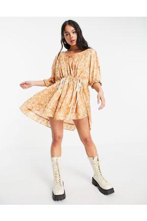 Free People Nora mini smock dress in paisley print-Neutral