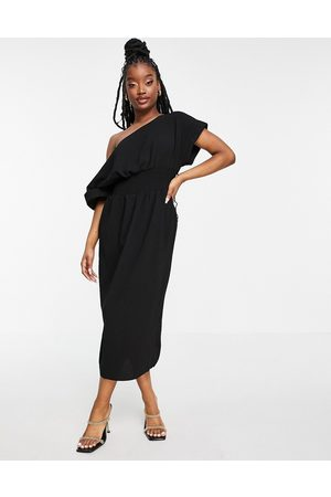 ASOS Shirred waist midi dress with fallen shoulder in black