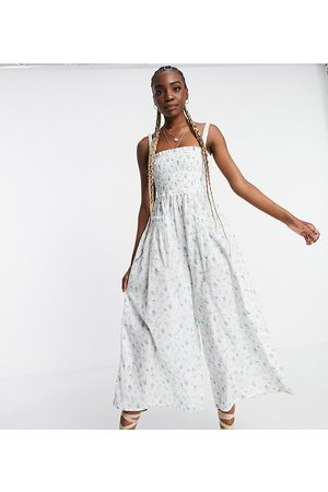 ASOS ASOS DESIGN tall shirred elastic back jumpsuit in meadow floral-Multi