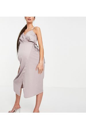 Little Mistress Damen Midikleider - Satin wrap midi dress in oyster grey