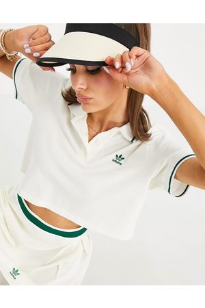 adidas Tennis Luxe' logo cropped polo shirt in off white