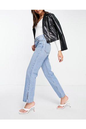 ASOS Low rise straight leg jeans in midwash with split hem-Blue