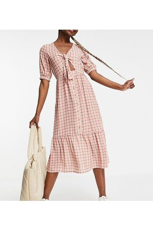Y.A.S Y.A.S. Tall tie front gingham midi dress in red