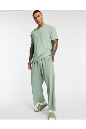 ASOS Co-ord slinky wide cropped joggers in rib fabric-Green