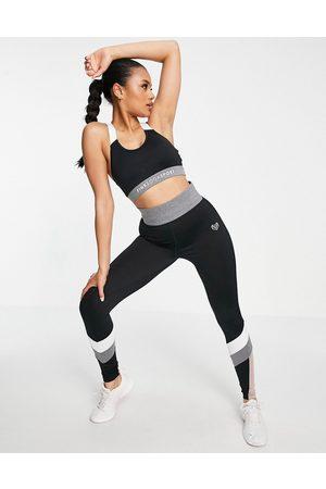 Pink Soda Sport havana colour block leggings in black and grey