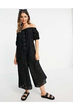 ASOS Off shoulder puff sleeve button front jumpsuit in black broderie
