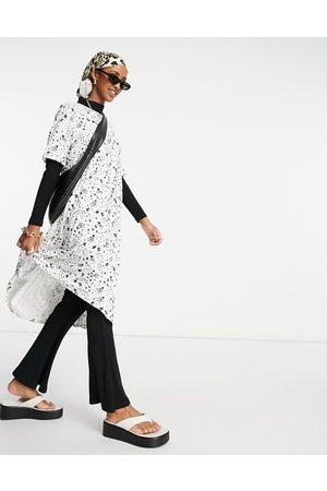Urban Threads Midi smock dress in white multi celestial print