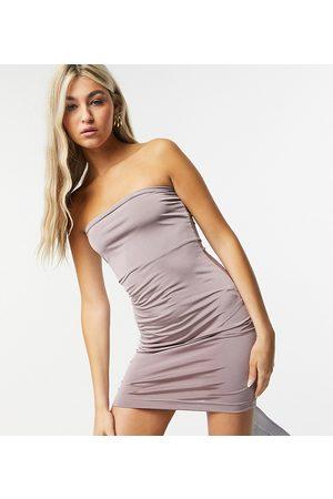 COLLUSION Damen Trägerlose Kleider - Disco bandeau dress-Brown