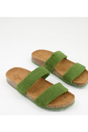 South Beach Exclusive double strap slides in olive towelling-Green
