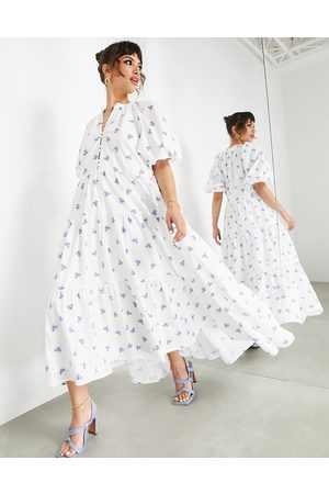 ASOS Puff sleeve midi dress in ditsy floral printed broderie-Multi