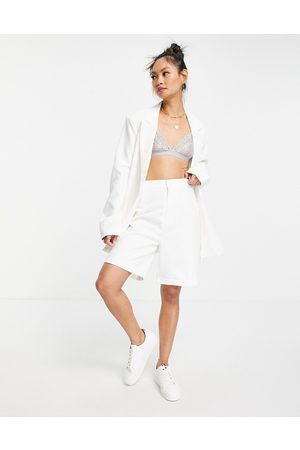 Urban Threads Longline tailored shorts co-ord in white
