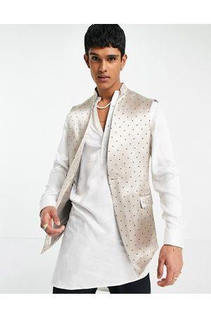 ASOS Wedding skinny Nehru waistcoat with mandarin collar with polka dot in -Neutral