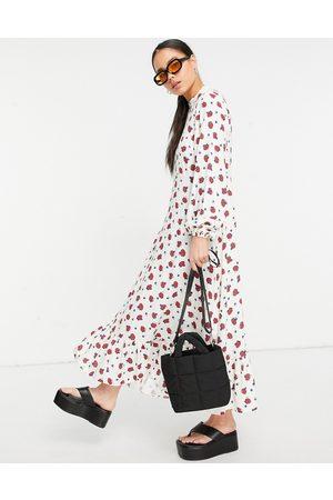 Vintage Supply High neck maxi smock dress in white fruit print