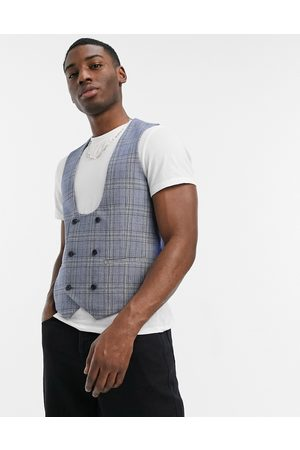 Original Penguin Checked slim fit waistcoat in blue and yellow