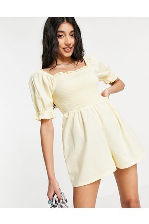Influence Bardot playsuit with shirring in yellow
