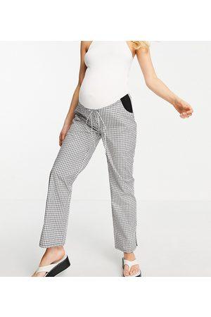 ASOS ASOS DESIGN Maternity straight leg pull on poplin trouser in mono check with side bump band-Black