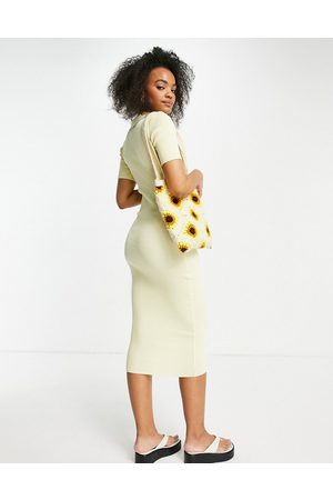 Lola May Knitted midi dress with collars in lemon-Yellow