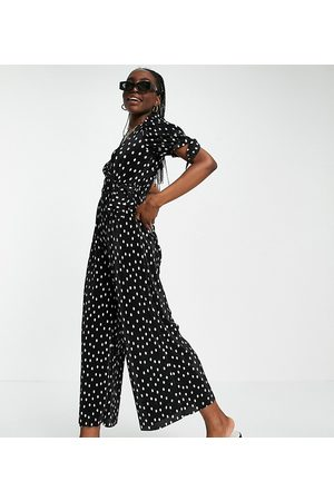ASOS Tall plisse wrap jumpsuit in mono spot print-Multi