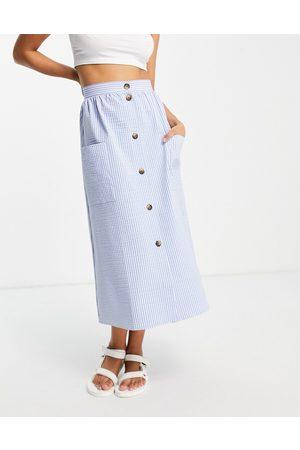 ASOS Button through midi skirt in blue seersucker-Multi