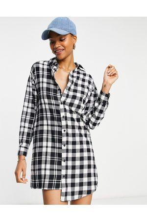 ASOS Mono mix and match check mini shirt dress print-Multi