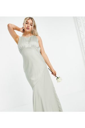 ASOS ASOS DESIGN Petite Bridesmaid cowl back satin maxi dress with button side detail in olive-Multi