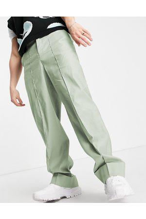 ASOS Wide smart trousers in green linen
