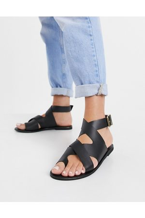ASOS Fortify leather flat sandals in black