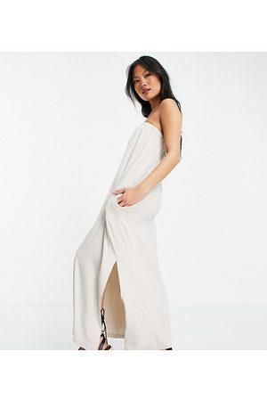 ASOS Petite bandeau maxi sundress with pockets in stone-Neutral