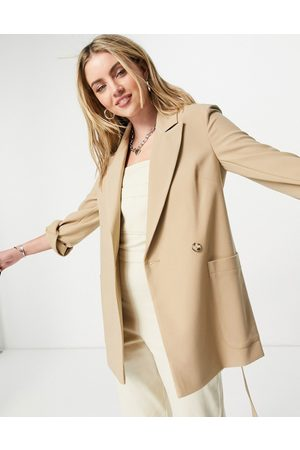 Topshop Twill slouch jacket-Brown